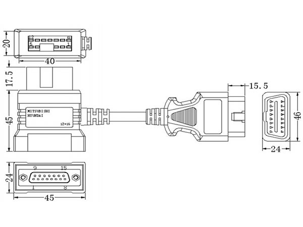 mitsubishi 12 16pin adapter diagnoseger t bennzs. Black Bedroom Furniture Sets. Home Design Ideas